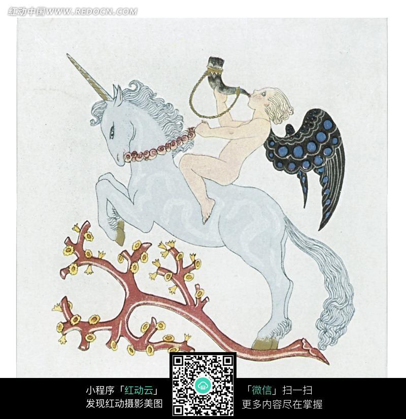手绘独角兽上吹奏号角的黑翅膀天使