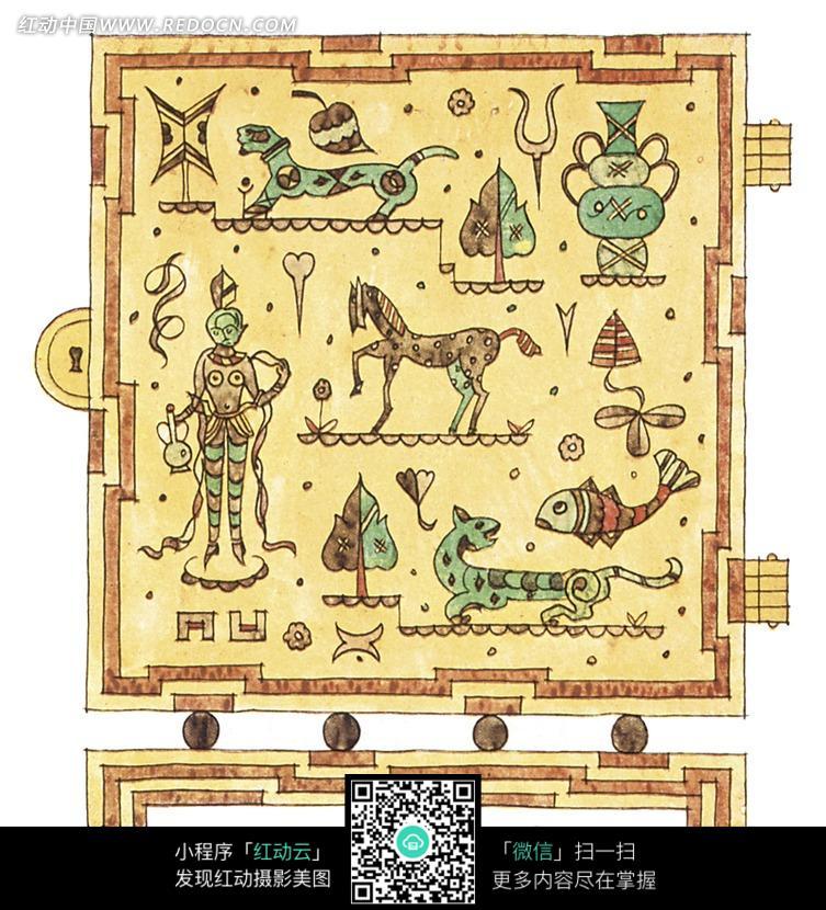正方形浅黄底人物动物植物组合图