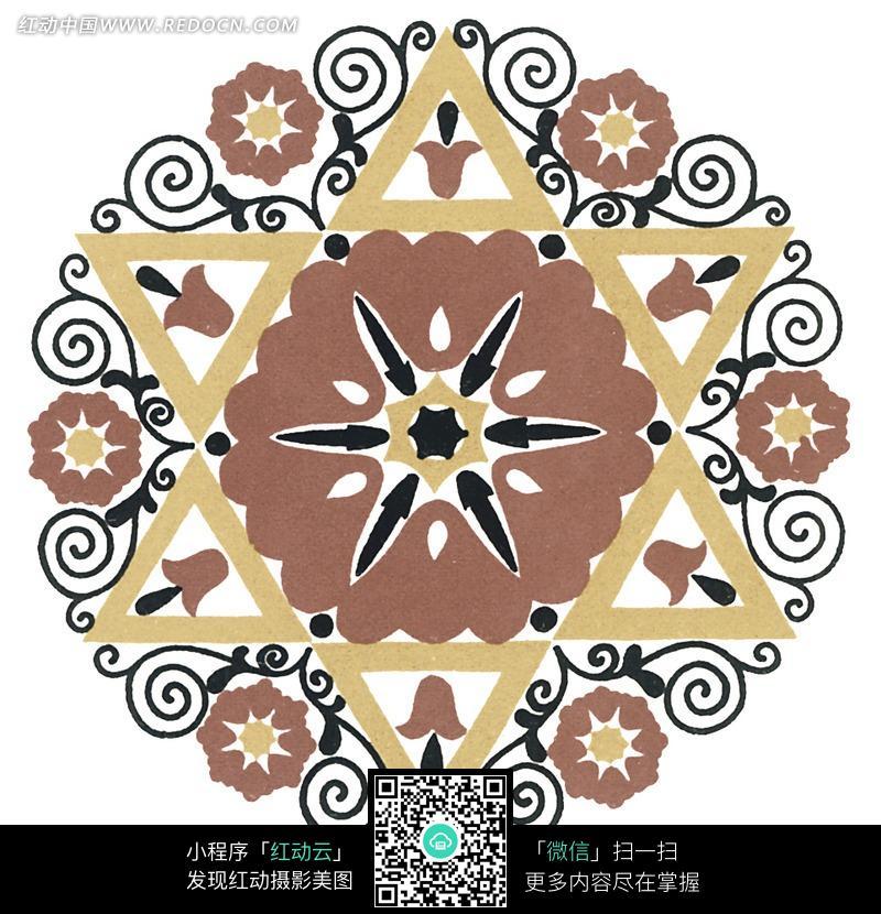 圆形图案 三角形 黑色 对称图案 图片素材 花纹 花纹素材 花边 花边