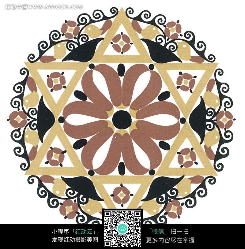 环形藤蔓围绕六芒星花纹图片