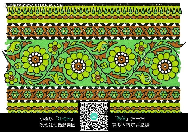 手绘绿色背景上的花藤花朵