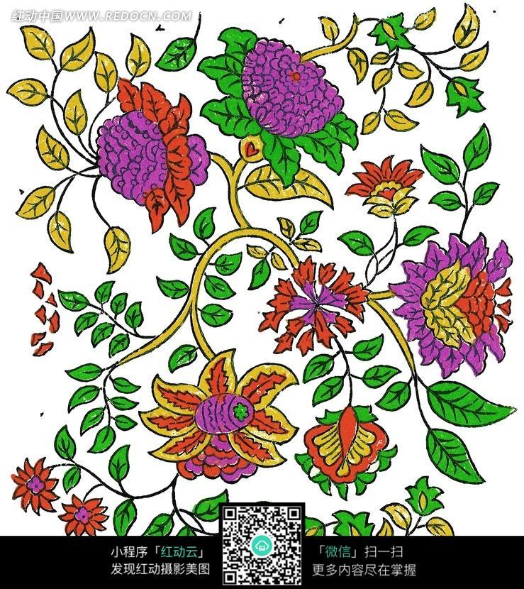 手绘精美的花朵花藤图案