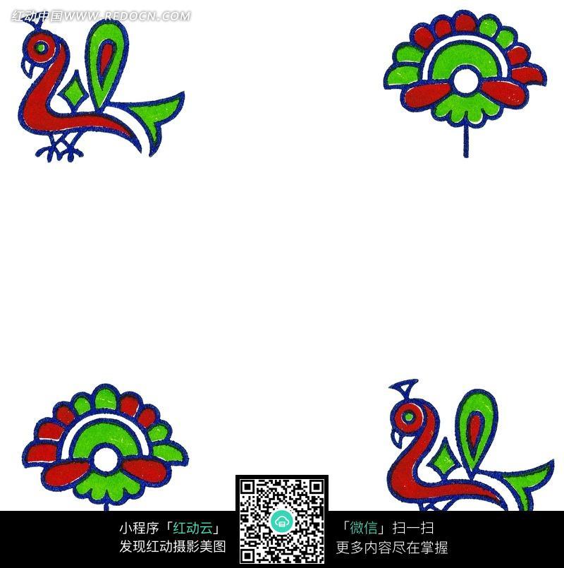 免费素材 图片素材 背景花边 花纹花边 卡通孔雀开屏图