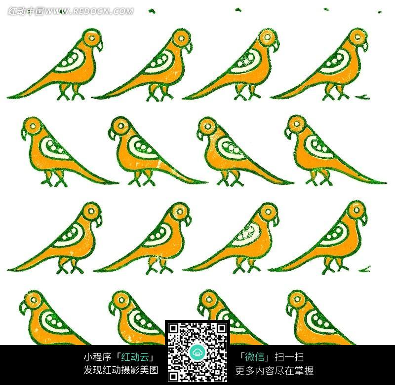 黄绿色小鸟四方连续图案