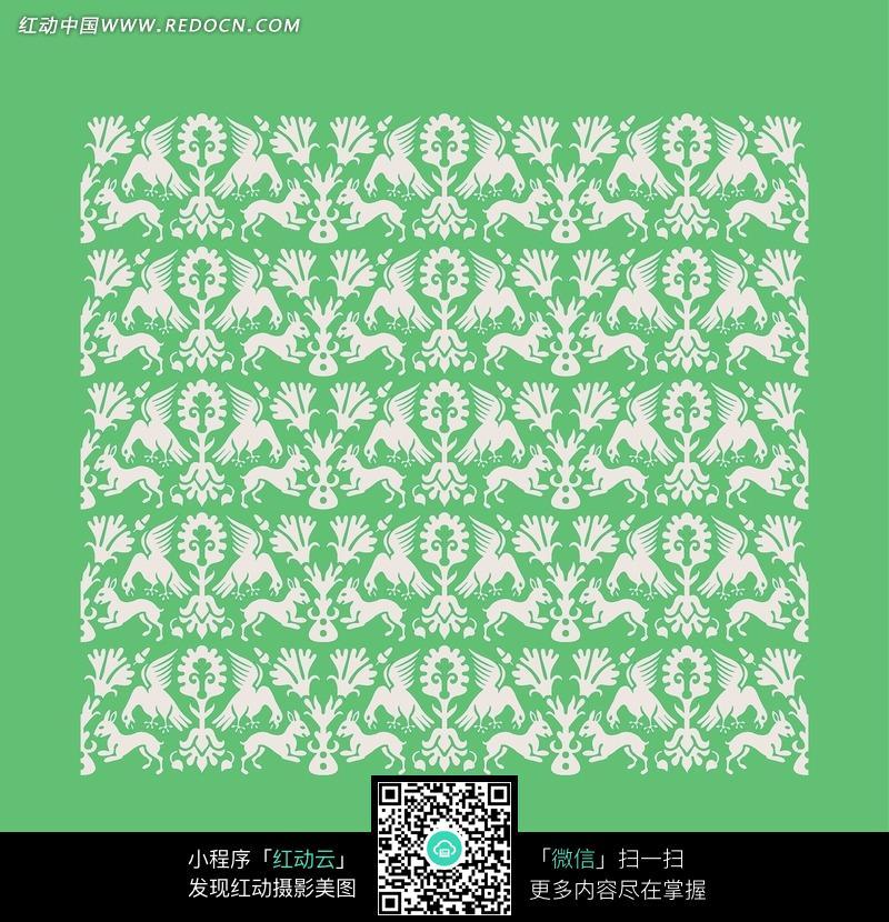 绿底飞鸟纹花叶纹动物纹构成的花纹图案图片