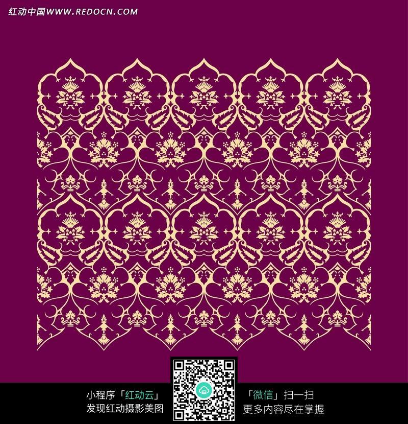 紫色背景上的金色规则排列花纹图案