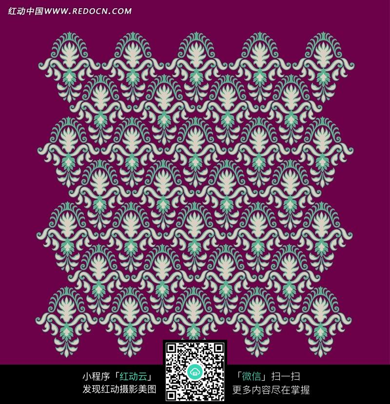 红底白色卷草花纹绿色毛边卷曲纹构成的图案图片