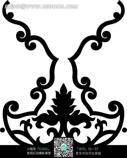 尖头卷曲纹圆形弧线三瓣花朵纹构成的花纹图案图片