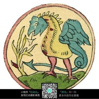 卷曲长尾展翅鸟形动物圆形图案图片
