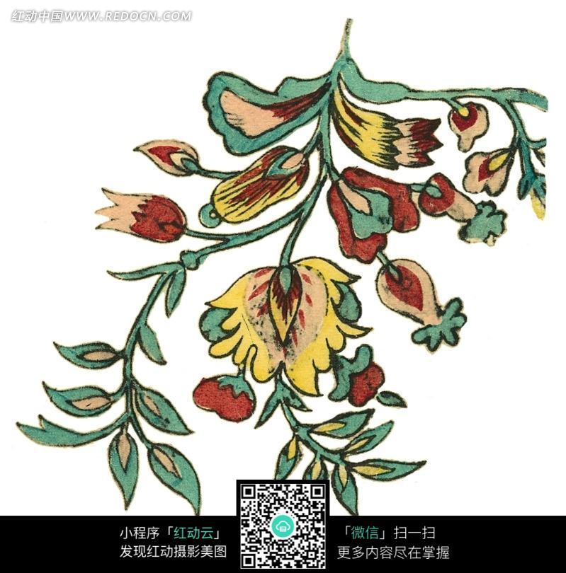 手绘花枝图案图片