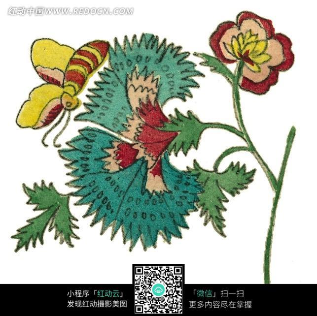 手绘花枝与蜜蜂