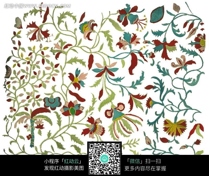 柔细的花藤花朵图案图片
