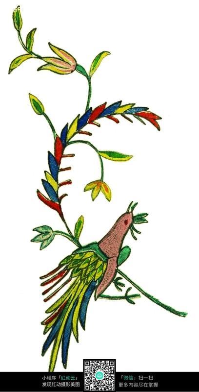 免费素材 图片素材 背景花边 花纹花边 手绘漂亮的花枝小鸟  请您分享