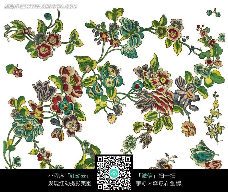 手绘花枝花藤花朵图案图片