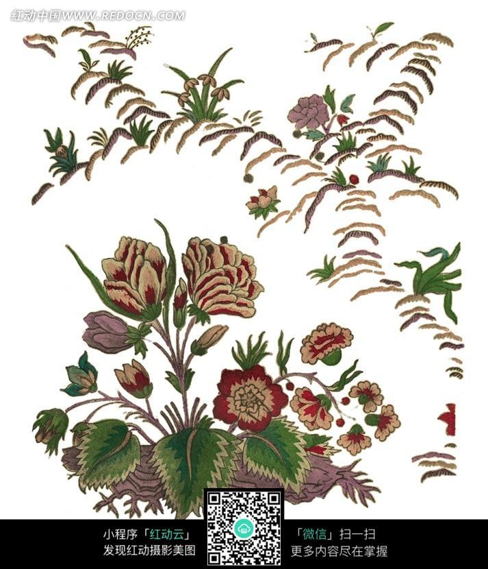 手绘精美花朵小草图案