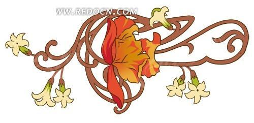 儿童简笔画花朵手绘淡雅背景psd素材