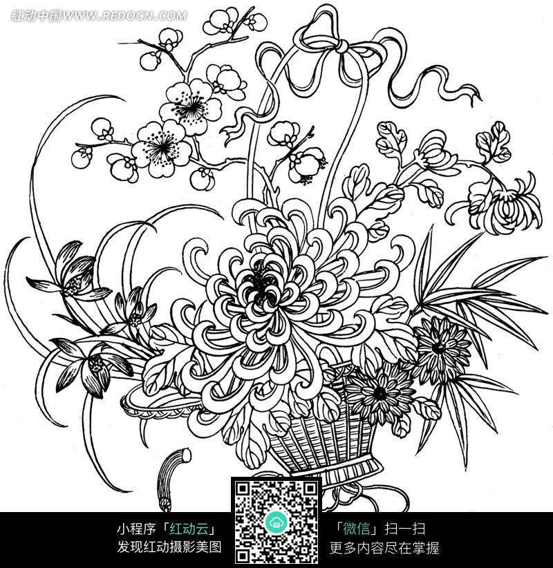 装着鲜花的花篮的黑白图案