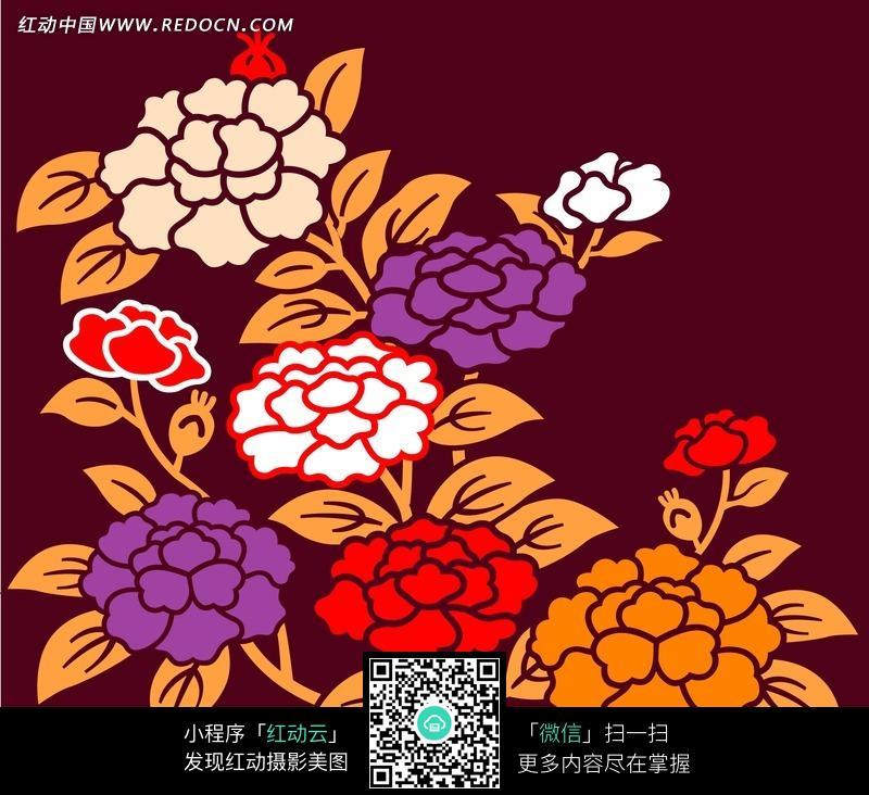 手绘金色枝叶缤纷牡丹花图片