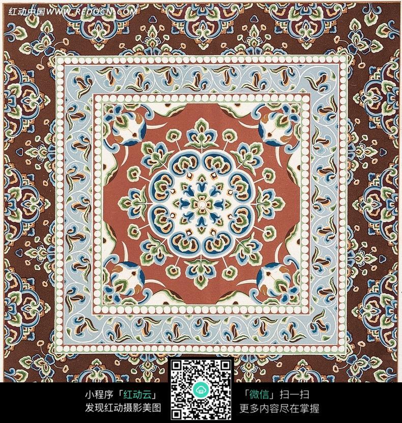 连珠纹 八瓣花团 地毯 方图 花纹图案 古典 文化 艺术 纹饰 装饰 纹样