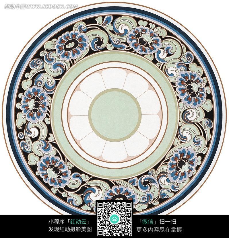 白色十瓣纹蓝绿卷叶花纹装饰的圆形地毯图案图片