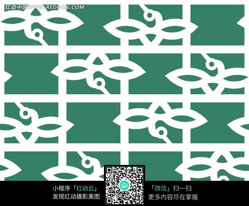 绿底白色飞鸟纹方格纹构成图案