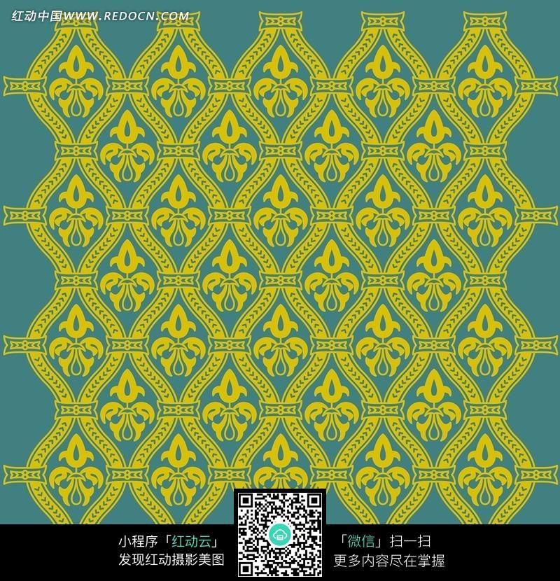 免费素材 图片素材 背景花边 花纹花边 灰兰底黄色波浪花叶图案