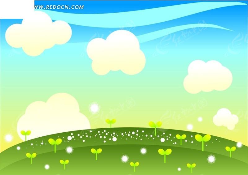 手绘蓝天白云下草地绿苗矢量图