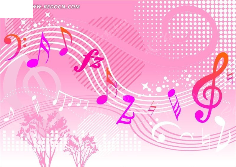免费素材 矢量素材 花纹边框 底纹背景 手绘梦幻的粉色五线谱音符  请