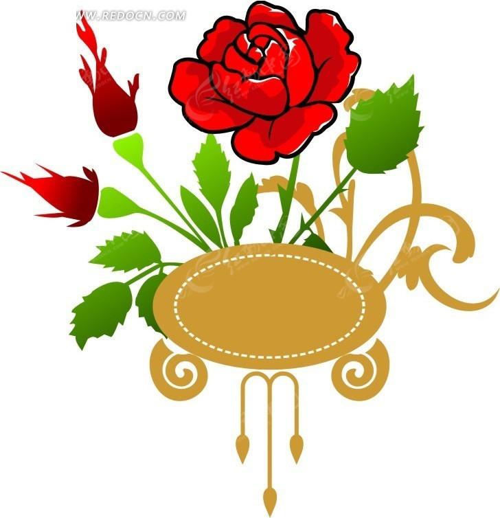 红色玫瑰花图案与黄色边框图片