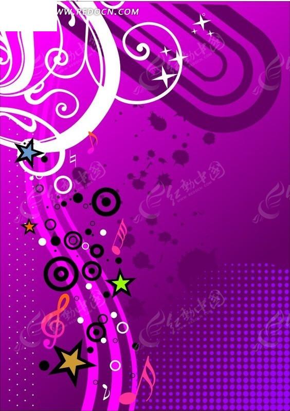 紫色系星星丝带和音乐符号背景素材CDR免费下载 编号1648241 红动网图片