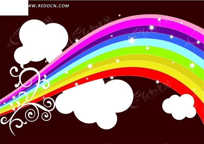 手绘云朵上闪亮彩虹