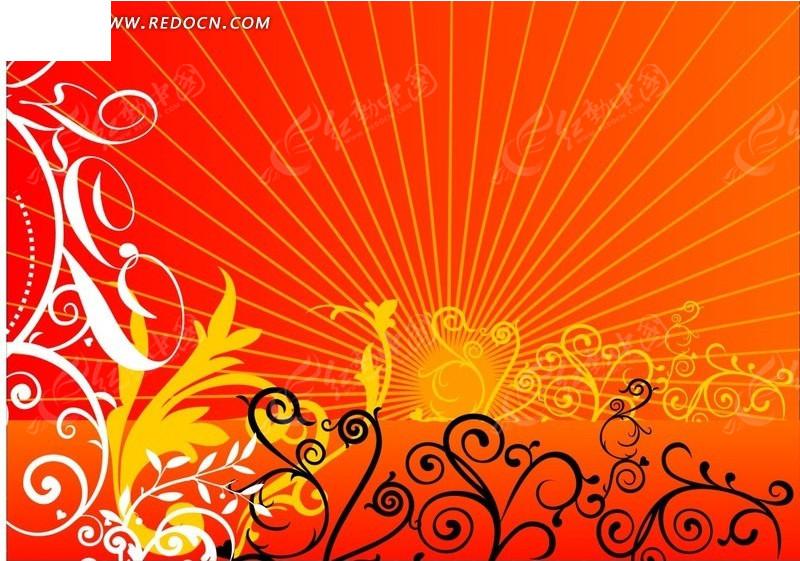 红色系阳光花纹藤蔓图案海报素材
