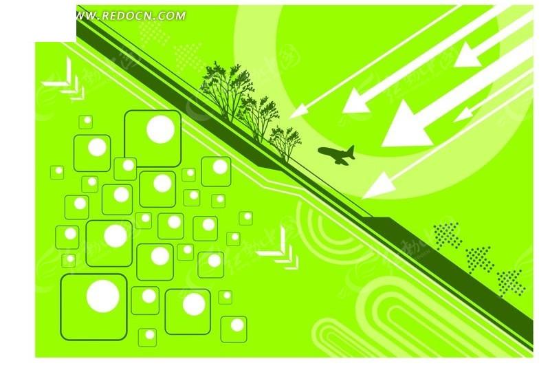 免费素材 矢量素材 花纹边框 底纹背景 > 绿色系格子小树箭头飞机图案
