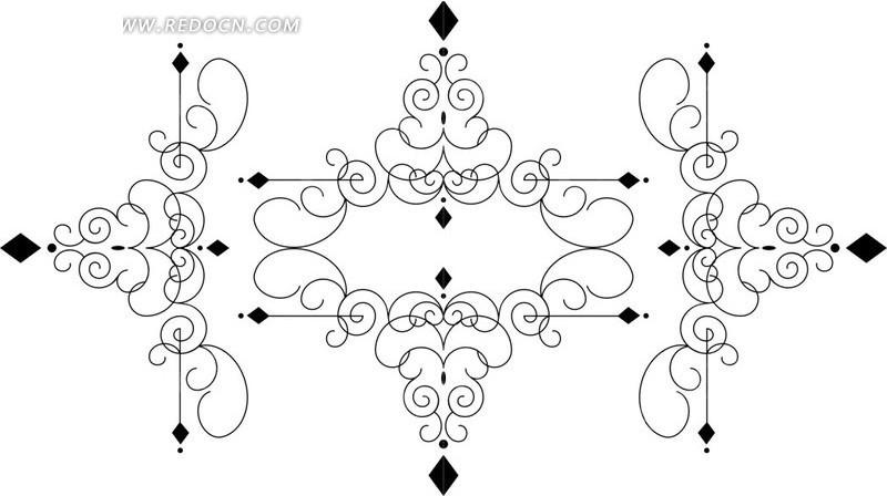 矢量黑白线条花边素材