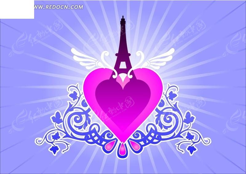 蓝色背景花藤光线和粉红心形图案ai素材矢量图cdr免费