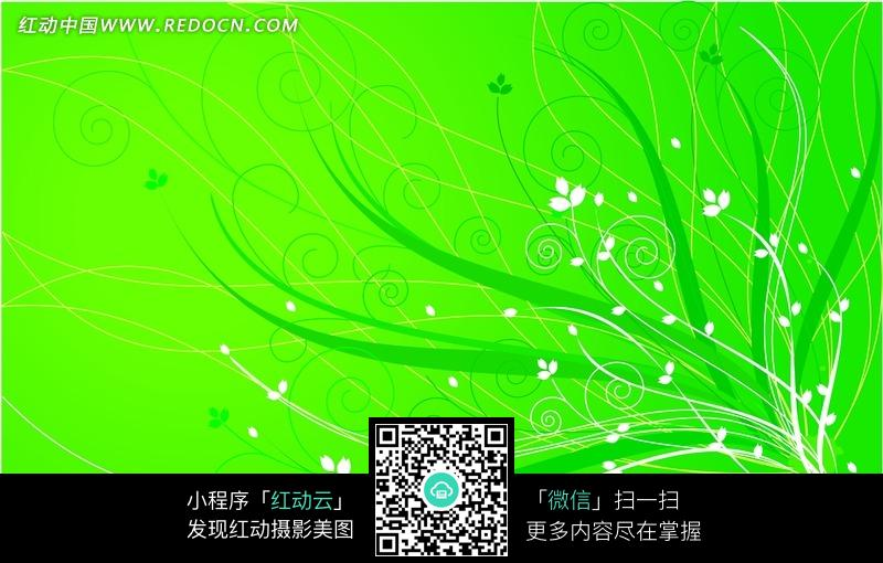 绿色背景白色花藤叶子素材图片