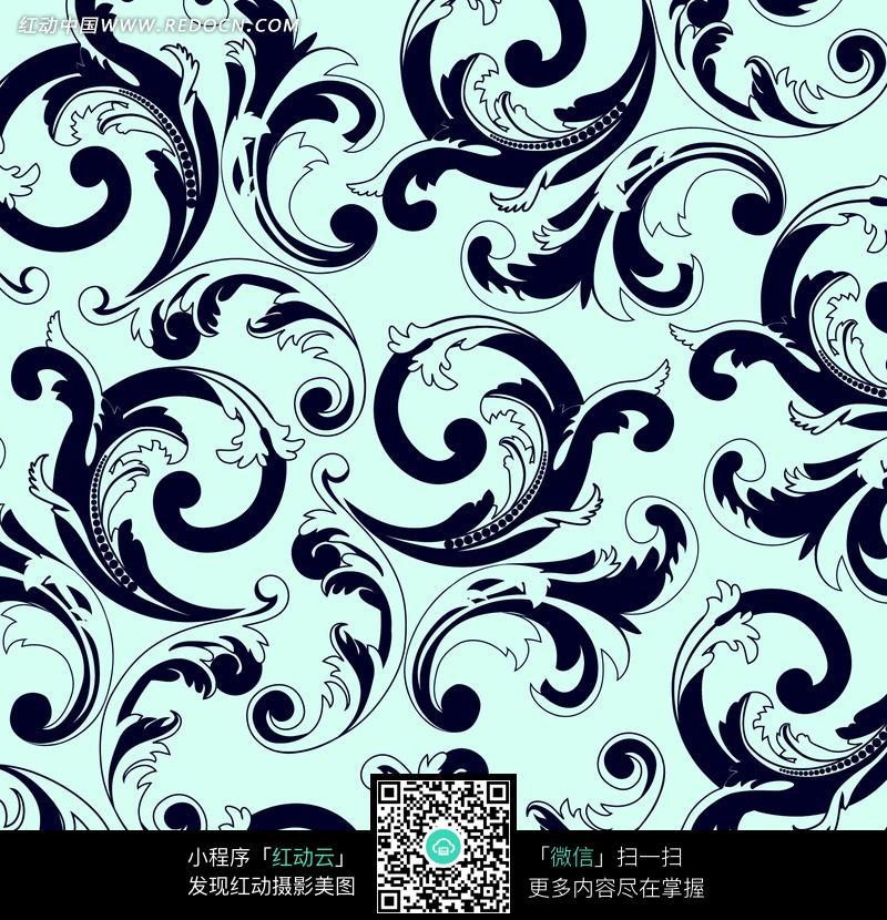 色背景黑色花纹四方连续图案图片