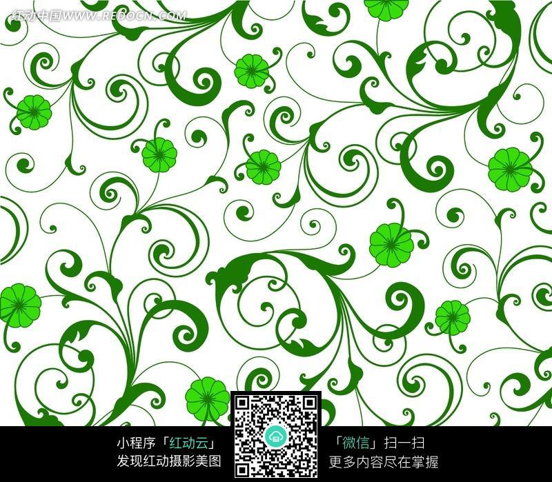 白色背景青叶绿花四方连续图案