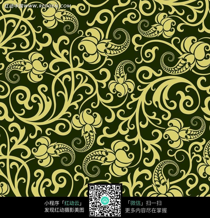 军色背景土黄色花朵四方连续图案