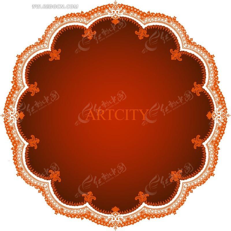 矢量花边形状-精美花纹花朵形状卡片设计矢量图
