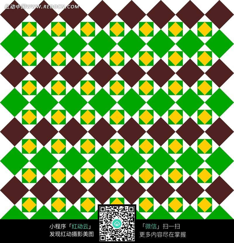 黑绿橙菱形方形构成的花纹图案