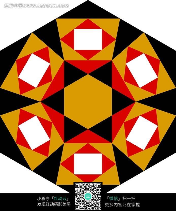橙六边形梯形黑红三角白色方形构成的背景图图片