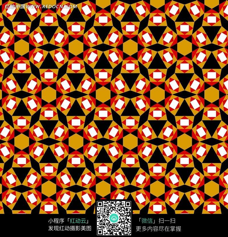 橙六边形黑三角和六白方纹花瓣构成的背景图图片免费下载 编号