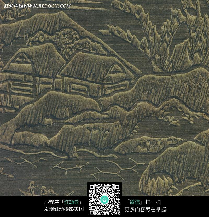 山水风景木雕版画