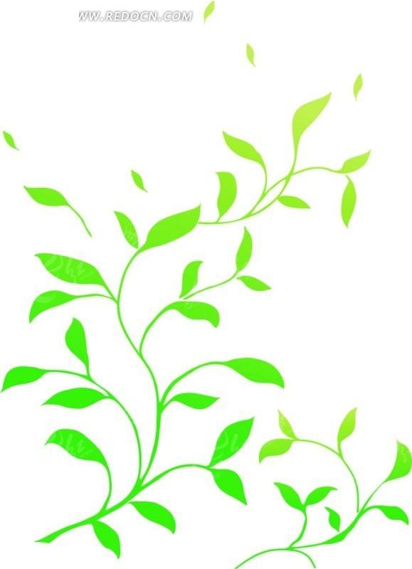绿色卷草叶子图案矢量图_花纹花边