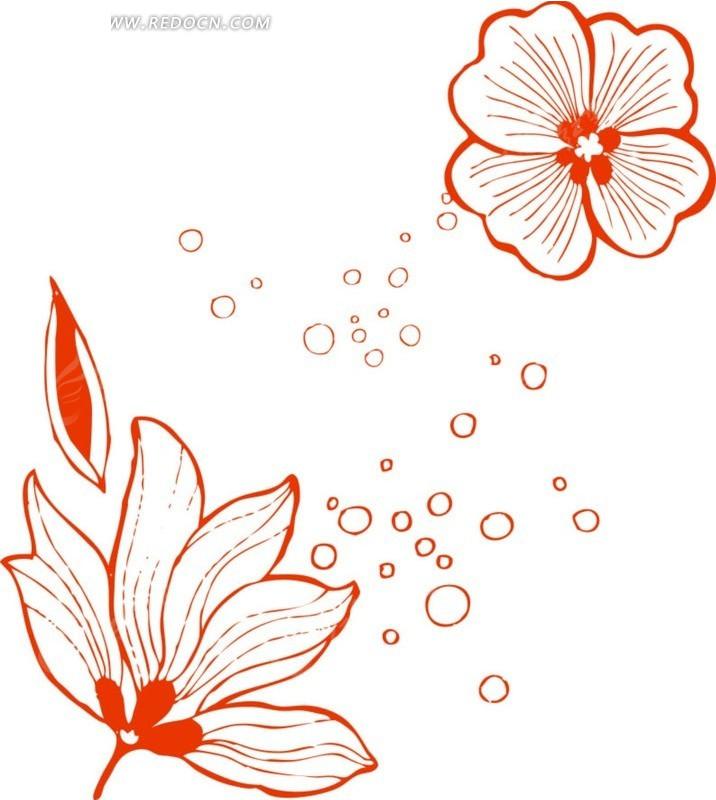 手绘红色边的花朵和气泡矢量图_花纹花边