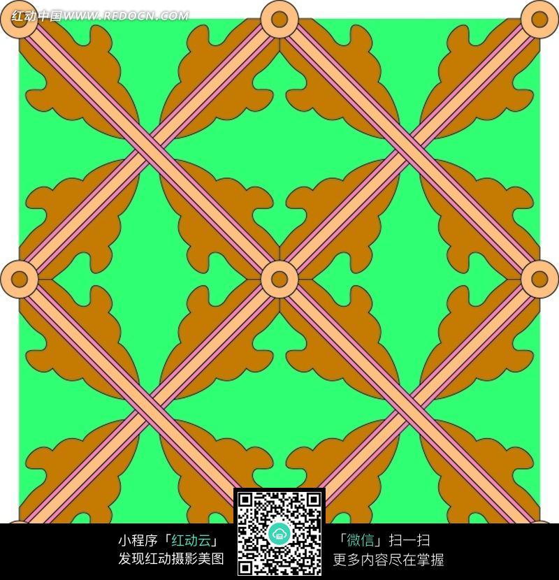 绿色背景上的四方连续花纹图片