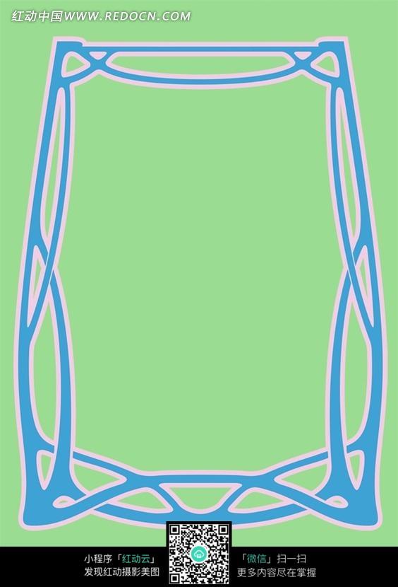 绿色背景蓝色花纹边框底纹素材图片