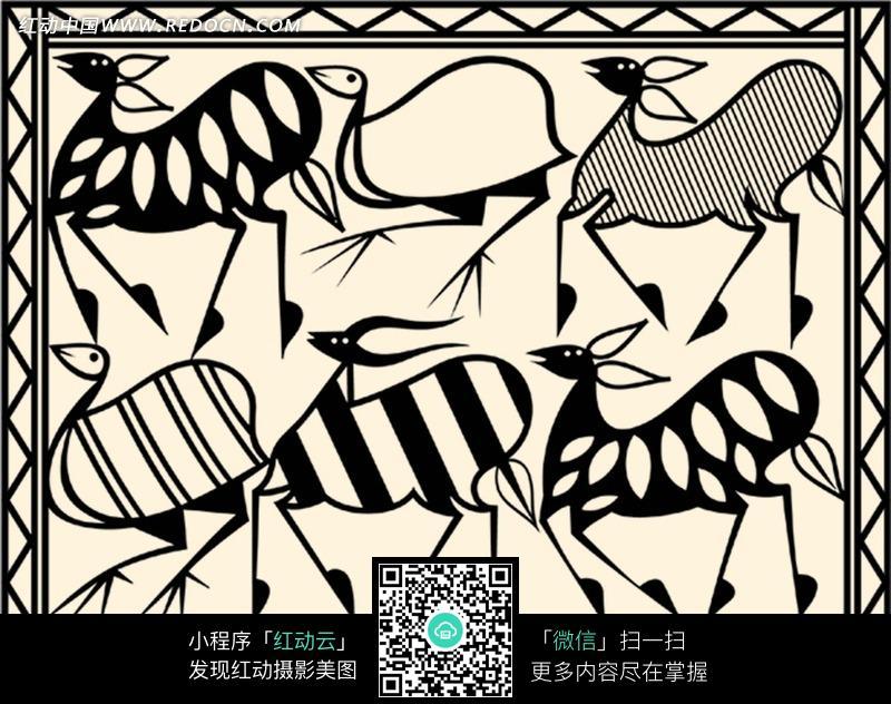 宽为50cm的矩形图案; 线描动物边框图案psd素材-底纹背景-花纹边框