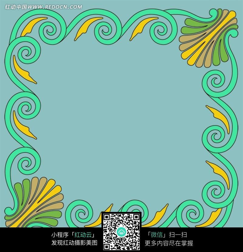 蓝色背景绿色花纹边框底纹素材图片